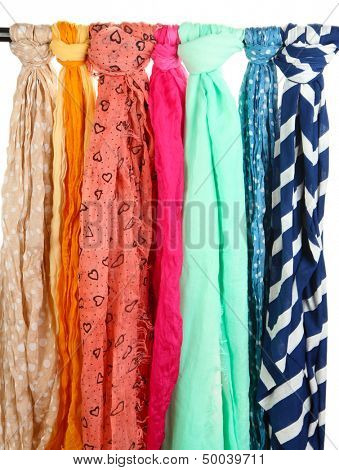 Colored scarves isolated on white