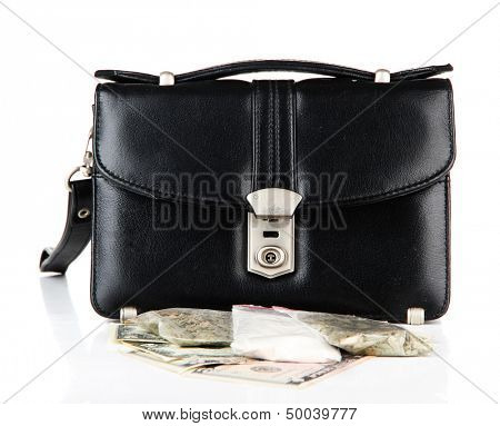 Black bag and drugs, isolated on white