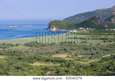 the coast and the seaside of Buljarica Bay, Montenegro