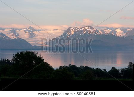 Mountain Range with Glacier