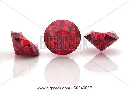Ruby Or Rodolite Gemstone On White Background