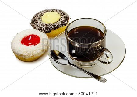 Two pieces of donuts and a cup of coffee