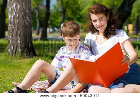 reading a book together