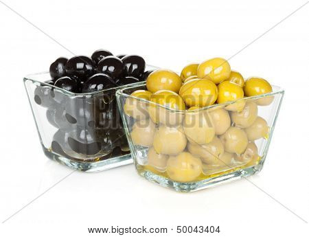 Black and green olives. Isolated on white background