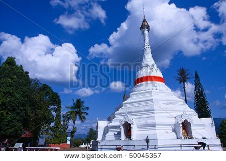 White Stupa Around The Cloud And Blue Sky