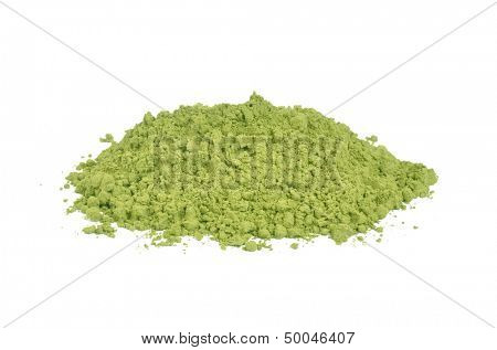 Matcha green tea on a white background
