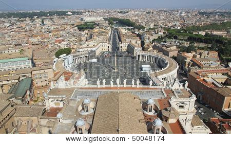 Panoramic View Of The City Of Rome From Above The Dome Of The Church Of San Pietro 4