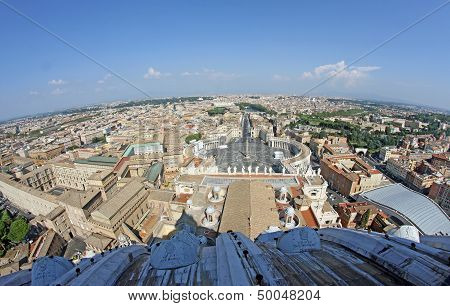 Panoramic View Of The City Of Rome From Above The Dome Of The Church Of San Pietro