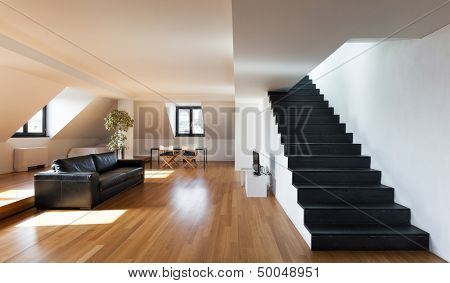 Interior, beautiful loft, hardwood floor, view living room