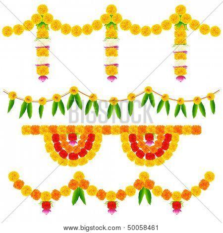 illustration of colorful flower arrangement for festival decoration