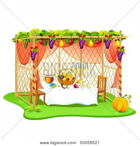 vector illustration of decorated sukkah for celebrating Sukkot