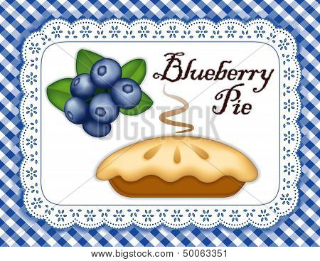 Blueberry Pie, Lace Doily Place Mat, Blue Check Background