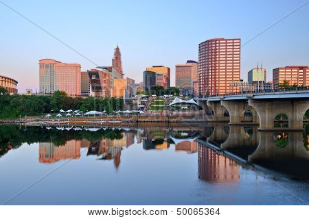 Skyline of Hartford, Connecticut from above the Connecticut River.