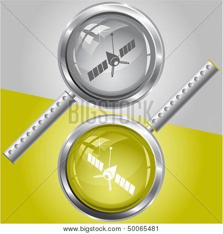 Spaceship. Raster magnifying glass.