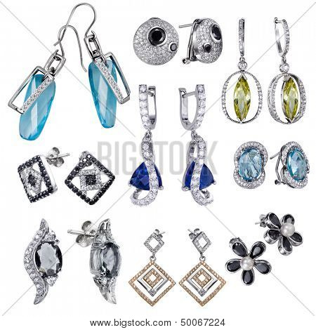 Earrings with white zircon and expensive big blue  gemstones