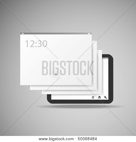 Tablet With Layers | Business Vector Illustration