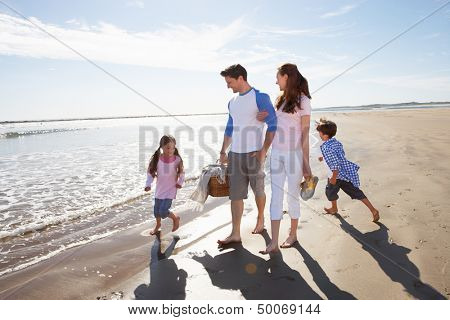 Family Walking Along Beach With Picnic Basket