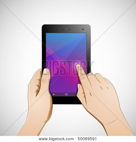 Hand touching 7 inch tablet