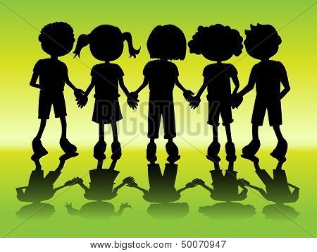 Kid Silhouettes Holding Hands