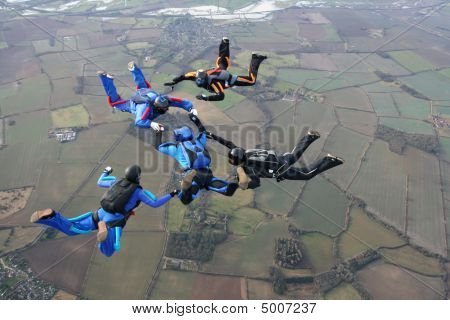 Five Skydivers