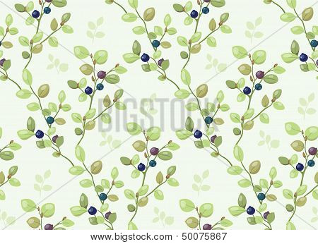 Tiled background pattern with blueberry bushes on a meadow poster