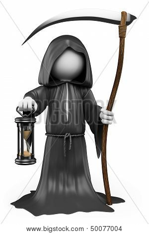 3D White People. Halloween. The Grim Reaper