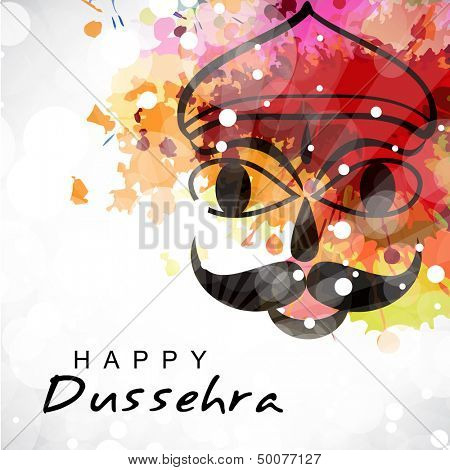 Indian festival Dussehra concept with illustration of Ravana face on colorful grungy background.