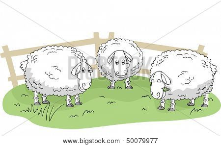 Illustration of Wooly Sheeps Standing on a Patch of Grass