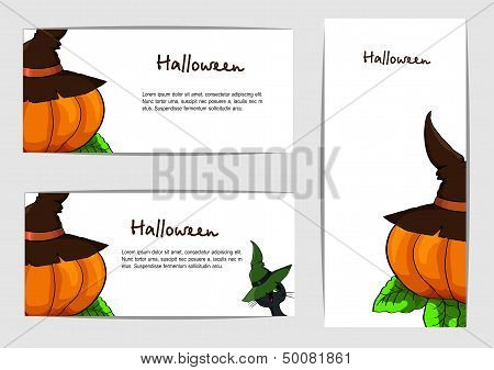 A Set Of Cards For Halloween. Vector.eps