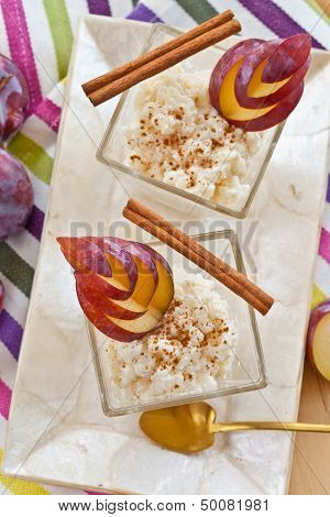 Rice Pudding With Cinnamon And Plums