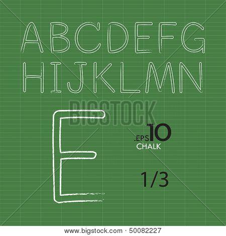 Set Of Chalk Vector Alphabet A-N