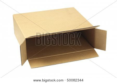 Open Brown Paper Box Lying On White Background