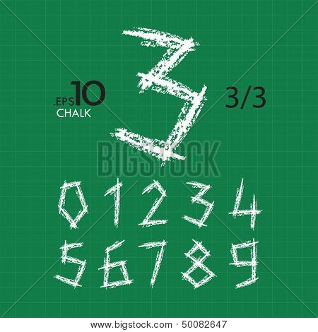 3-3 Set Of Chalk Vector Numbers 0-9 Editable (type2)