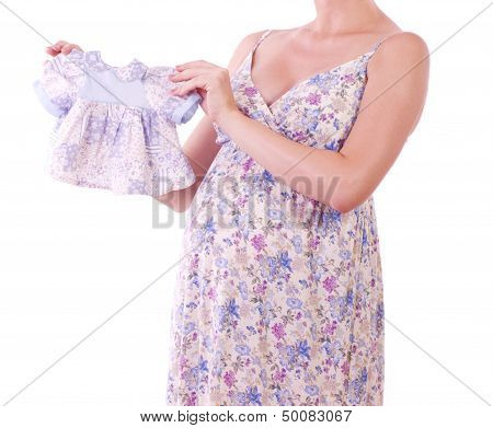 Beautiful pregnant woman with shopping a white background