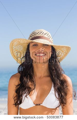 Attractive dark haired woman wearing straw hat posing on the beach