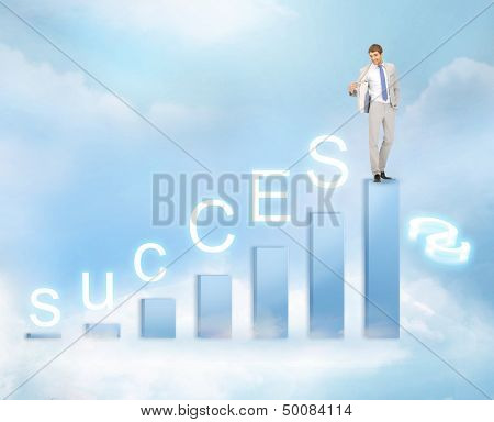 business, success and graphs concept - businessman with big 3d chart