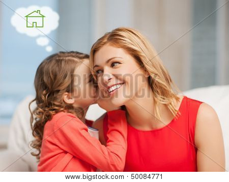 home, real estate and family concept - mother and daughter with eco house