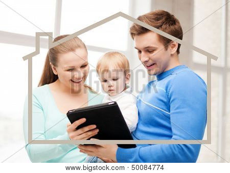home, real estate and family concept - family with child, dream house and tablet pc