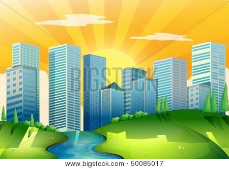 Illustration of a river near the tall buildings