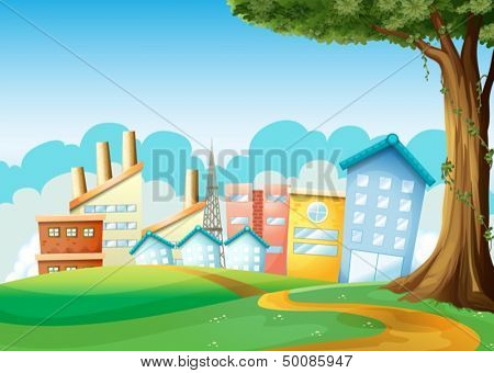 Illustration of the factories and high buildings across the hills