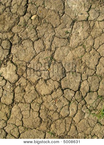 Dry cracked mud natural abstract pattern close up. poster