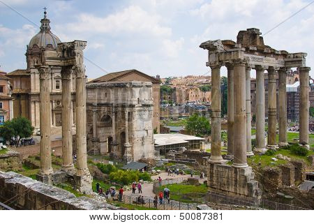 Arch of Emperor Septimius Severus and the Roman Forum in Rome Italy poster