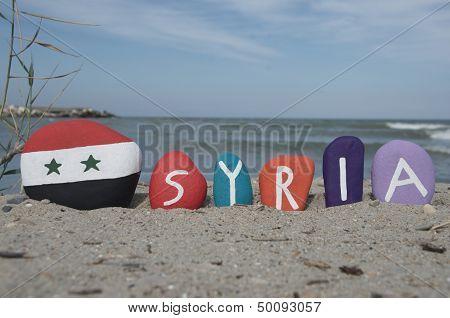Syria, souvenir on colourful stones