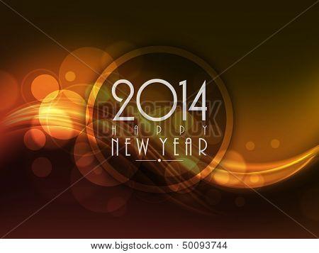 Feliz año nuevo 2014 fondo de celebración con onda brillante.