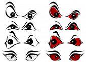 Set of evil eyes on white background, illustration poster