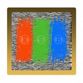 three colors bad television set red green blue poster