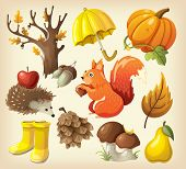 Set of elements and items that represent autumn poster