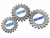 teach inspire motivate - text in 3d silver grey gearwheels education motivation concept words poster