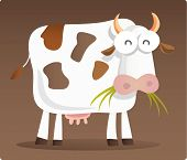 Cartoon illustration of Cow eating grass with brown background poster