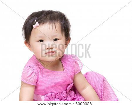 Asian little girl making funny face